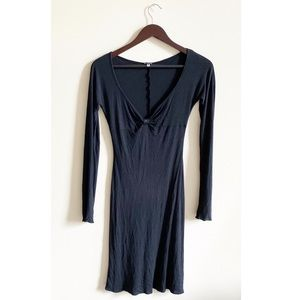 Gf Ferre Black Long Sleeve V-Neck Dress